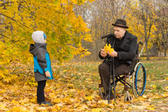 Disabled grandfather and child in an autumn park. Disabled grandfather confined to a wheelchair playing with his cute little grandson wrapped up against the Royalty Free Stock Images