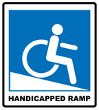 Disabled Handicap Icon. Handicapped ramp. Notice label. Vector illustration. Disabled Handicap Icon in blue circle isolated on white. Vector sign for public Royalty Free Stock Photo
