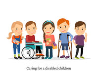 Disabled or handicapped children with friends Royalty Free Stock Photos