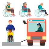 Disabled handicapped diverse people vector wheelchair invalid person help disability characters disable medical. Disabled handicapped diverse people wheelchair Stock Photos