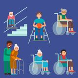Disabled handicapped diverse people vector wheelchair invalid person help disability characters disable medical. Disabled handicapped diverse people wheelchair Stock Photo