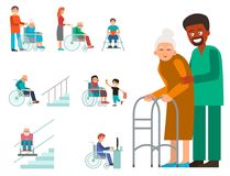 Disabled handicapped diverse people vector wheelchair invalid person help disability characters disable medical. Disabled handicapped diverse people wheelchair Stock Photography