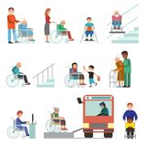 Disabled handicapped diverse people wheelchair invalid person help disability characters vector illustration. Support life disable medical assistance Stock Photography