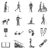 Disabled Handicapped People Black Icons Set Royalty Free Stock Images