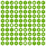 100 disabled healthcare icons hexagon green Stock Photography