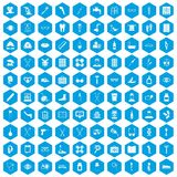 100 disabled healthcare icons set blue. 100 disabled healthcare icons set in blue hexagon isolated vector illustration Vector Illustration