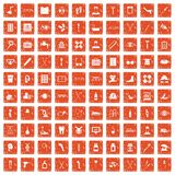 100 disabled healthcare icons set grunge orange. 100 disabled healthcare icons set in grunge style orange color isolated on white background vector illustration Stock Photography