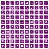 100 disabled healthcare icons set grunge purple. 100 disabled healthcare icons set in grunge style purple color isolated on white background vector illustration Vector Illustration