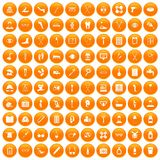 100 disabled healthcare icons set orange Royalty Free Stock Photography