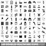 100 disabled healthcare icons set, simple style Stock Image