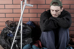 Disabled and homeless man Royalty Free Stock Photo