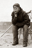 Disabled homeless tramp.