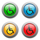 Disabled icon set on glass buttons Royalty Free Stock Image