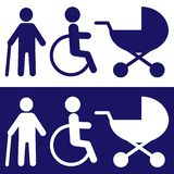 Disabled Icons for design.Vector.White in blue begraund. stock illustration