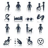 Disabled icons set black Stock Photo