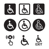 Disabled icons set. Black and white signs Royalty Free Stock Image