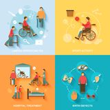 Disabled icons set flat. Disabled flat icons set with limited opportunities sport activity hospital treatment birth defects isolated vector illustration Stock Photo