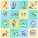Disabled icons set flat line Royalty Free Stock Images