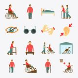 Disabled icons set flat. Disabled people care help assistance and accessibility flat icons set isolated vector illustration Royalty Free Stock Photos