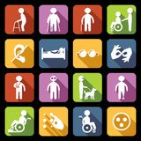 Disabled Icons Set Flat royalty free illustration