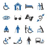 Disabled icons set. Disabled people care help assistance and accessibility icons set isolated vector illustration Royalty Free Stock Images