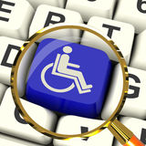 Disabled Key Magnified Shows Wheelchair Access Or Handicapped Stock Photography