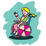 Disabled kid. Illustration of a disabled girl sitting on a wheelchair waving her hand Royalty Free Stock Images