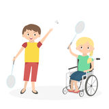 Disabled kid with friend. Handicapped child in a wheelchair  Stock Photos