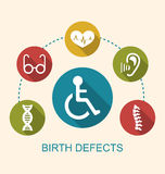 Disabled with Limited Opportunities. Illustration Flat Icons Disabled with Limited Opportunities and Birth Defects - Vector vector illustration