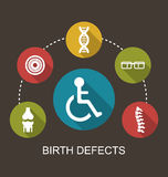 Disabled with Limited Opportunities. Illustration Flat Icons Disabled with Limited Opportunities and Birth Defects - Vector royalty free illustration