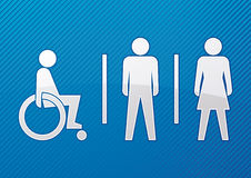 Disabled, male and female toilet sign