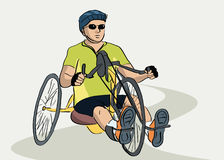 Disabled man on a bicycle Stock Photo