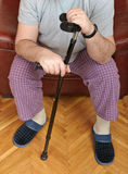 Disabled man with crutch Royalty Free Stock Photos