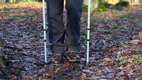 Disabled man on crutches at outdoor on the path in the park on autumn leaves stock footage
