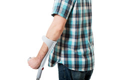 Disabled man with crutches. Stock Photo