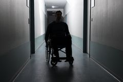 Disabled man in hospital Royalty Free Stock Image