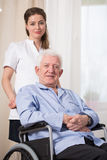 Disabled man at nursing home Stock Images