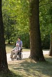 Disabled man in the park Stock Photo
