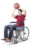Disabled man play basketball Stock Image
