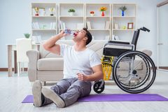 The disabled man recovering from injury at home
