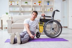 The disabled man recovering from injury at home Stock Photo