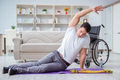 The disabled man recovering from injury at home Stock Photography