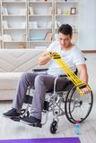 The disabled man recovering from injury at home Stock Photos
