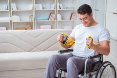 The disabled man recovering from injury at home Royalty Free Stock Images