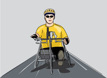Disabled man riding a bike Royalty Free Stock Photo