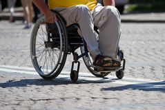Disabled Man Sitting On Wheelchair Stock Images