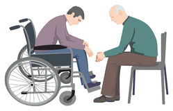Disabled Man Sitting In Wheelchair royalty free illustration