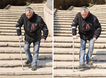 Disabled man on stairs collage Royalty Free Stock Image
