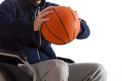 Disabled man throwing basketball Royalty Free Stock Photo