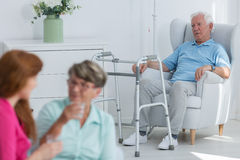 Disabled man with walker Stock Image